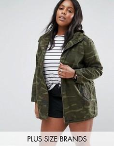 Камуфляжная куртка с вышивкой размера плюс Brave Soul - Зеленый