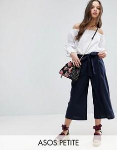 Льняные юбка-брюки ASOS PETITE - Темно-синий