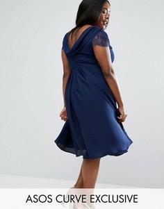 Черное кружевное платье миди со свободным воротом ASOS CURVE Kate - Темно-синий