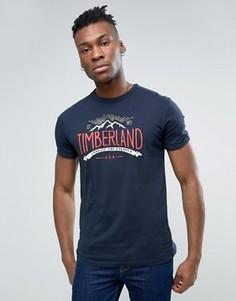 Темно-синяя узкая футболка с логотипом Timberland - Темно-синий
