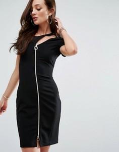 Облегающее платье на молнии спереди Versace Jeans - Черный