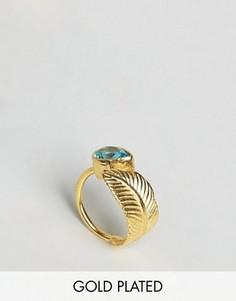 Кольцо с листиком и камнем Ottoman Hands - Золотой