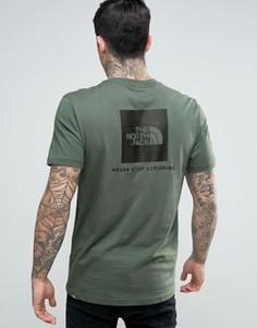 Зеленая футболка с логотипом сзади The North Face Red Box - Зеленый
