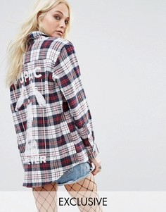 Рубашка в клетку с принтом Tupac на спине Reclaimed Vintage - Мульти