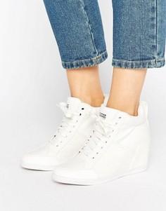 Белые джинсовые кроссовки на танкетке G-Star New Labour - Белый