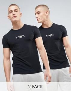 2 футболки с круглым вырезом и логотипом на груди Emporio Armani - Черный
