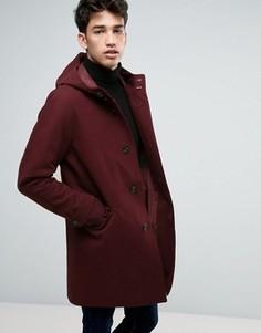 Бордовая непромокаемая куртка-парка в строгом стиле ASOS - Красный