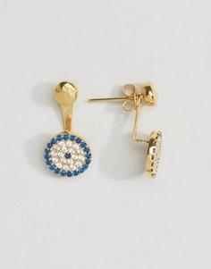 Серьги-гвоздики с круглой подвеской в виде глаза Фатимы Ottoman Hands - Золотой