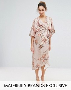 Платье-кимоно миди с принтом птиц Hope & Ivy Maternity - Серый