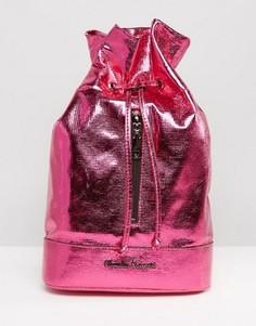 Объемный рюкзак цвета металлик на молнии Claudia Canova - Розовый