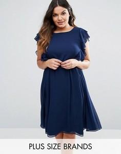 Платье с оборками Lovedrobe - Темно-синий