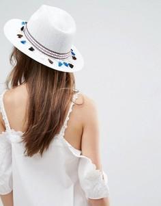 Мягкая соломенная шляпа с ацтекским принтом и кисточками ASOS White - Белый