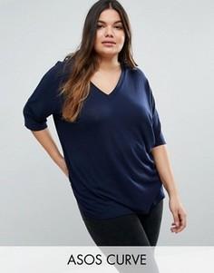 Oversize-футболка в рубчик с асимметричной кромкой ASOS CURVE - Темно-синий