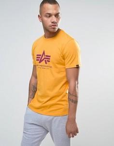 Желтая футболка классического кроя с логотипом Alpha Industries - Черный