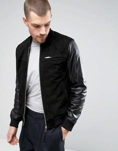 Замшевая куртка-бомбер с кожаными рукавами Kiomi - Черный