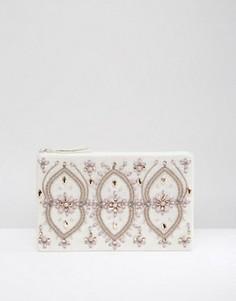 Клатч на молнии с декоративной отделкой True Decadence - Серебряный