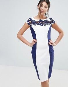Платье с кружевной вставкой Paper Dolls - Темно-синий
