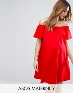 Платье мини для беременных с открытыми плечами ASOS Maternity - Красный