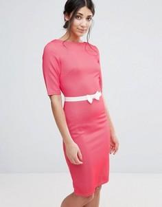 Фактурное облегающее платье с бантом на талии Paper Dolls - Розовый
