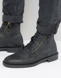 Черные замшевые ботинки на шнуровке с молнией ASOS - Черный