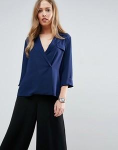 Свободная блузка в стиле милитари ASOS - Темно-синий