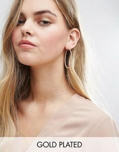 Позолоченные серьги-кольца с камнями ALDO - Золотой