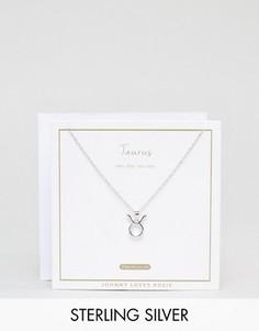 Серебряное ожерелье со знаком зодиака Телец Johnny Loves Rosie - Серебряный