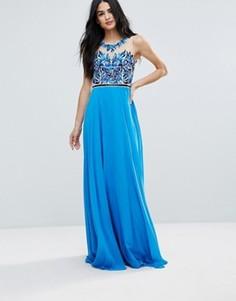 Платье макси с декоративной отделкой на лифе Forever Unique - Синий