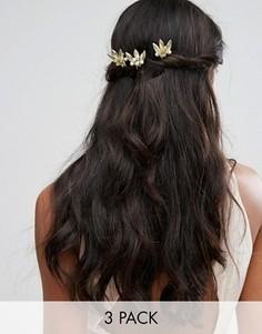 Шпильки для волос с золотистыми листочками и жемчужинами Johnny Loves Rosie - Золотой