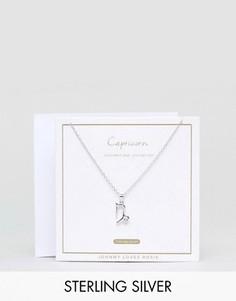 Серебряное ожерелье со знаком зодиака Козерог Johnny Loves Rosie - Серебряный