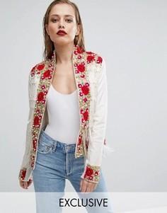 Пиджак с вышитыми розами и бахромой A Star is Born - Белый