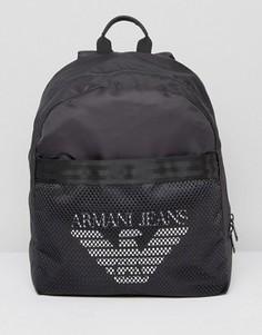 Черный рюкзак с сетчатой отделкой и логотипом Armani Jeans - Черный