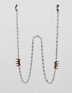 Серебристая цепочка для солнцезащитных очков с коронами DesignB London - Серебряный