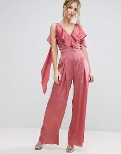 Атласный комбинезон с рюшами True Violet - Розовый