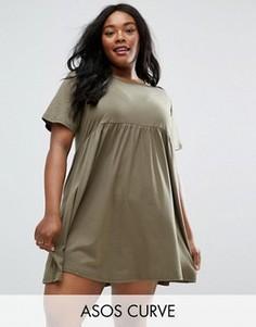Свободное платье ASOS CURVE - Зеленый