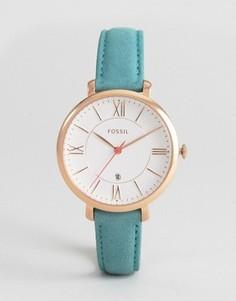 Часы с кожаным сине-зеленым ремешком Fossil Jacqueline - Золотой