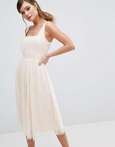 Платье миди с юбкой из тюля и отделкой искусственным жемчугом Little Mistress - Розовый