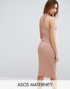 Платье-футляр с перекрестными лямками на спине ASOS Maternity - Розовый