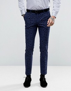 Супероблегающие брюки с леопардовым флоковым узором Noose & Monkey - Синий
