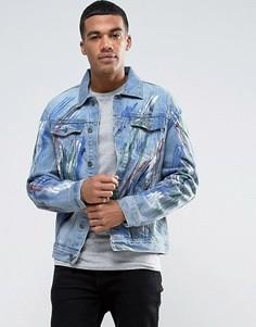 Узкая джинсовая куртка с разводами краски Liquor & Poker - Синий