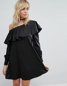 Платье-рубашка на одно плечо Fashion Union - Черный