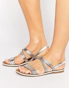 Кожаные сандалии с лазерной перфорацией Dune Lilo - Серебряный