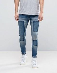 Супероблегающие джинсы с рваными коленями Liquor & Poker - Темно-синий