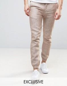 Льняные брюки с эластичным поясом Noak - Бежевый