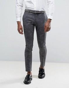 Супероблегающие брюки с принтом пейсли Noose & Monkey - Серый