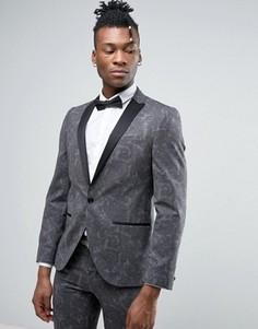 Приталенный пиджак-смокинг с принтом пейсли Noose & Monkey - Серый