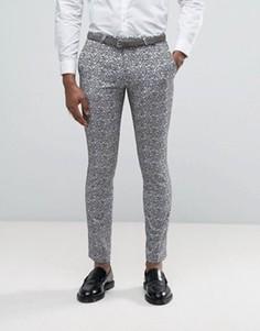 Супероблегающие брюки с бархатной цветочной отделкой Noose & Monkey - Серый