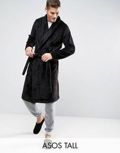 Флисовый халат с шалевым воротником ASOS TALL - Черный