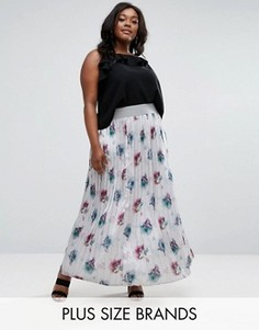 Плиссированная юбка макси с цветочным принтом Elvi Plus - Мульти