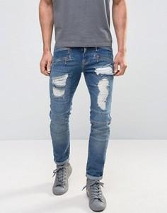 Синие джинсы скинни в байкерском стиле с рваной отделкой ASOS - Синий